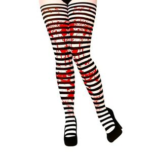44967548b8e65 Black and White Striped Tights with Blood Ladies Halloween Fancy Dress  Accessory
