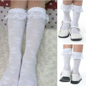 1 Pairs Baby Toddler Kids Girl Lace Trim Boot Knee High Socks School Socks 3-12Y