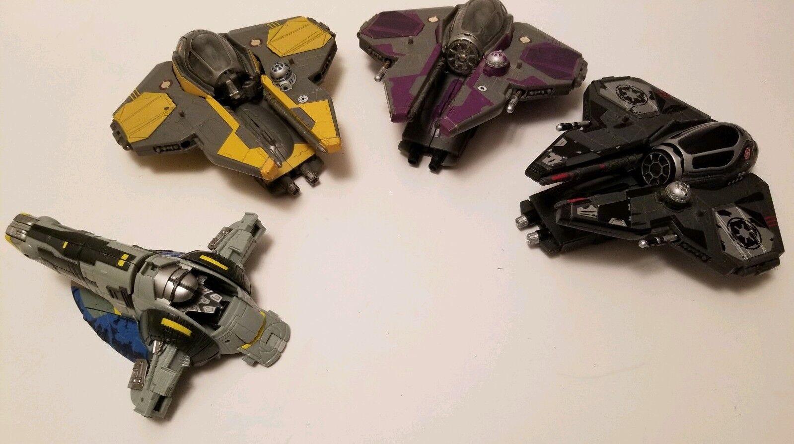 Star Wars Transformers Robot Interceptor lot of 4 LFL w Vader mini 2 incomplete