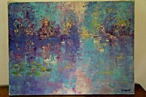 TABLEAU-PEINTURE-SUR-TOILE-GOUACHE-signe-M-LEGRAND-1985