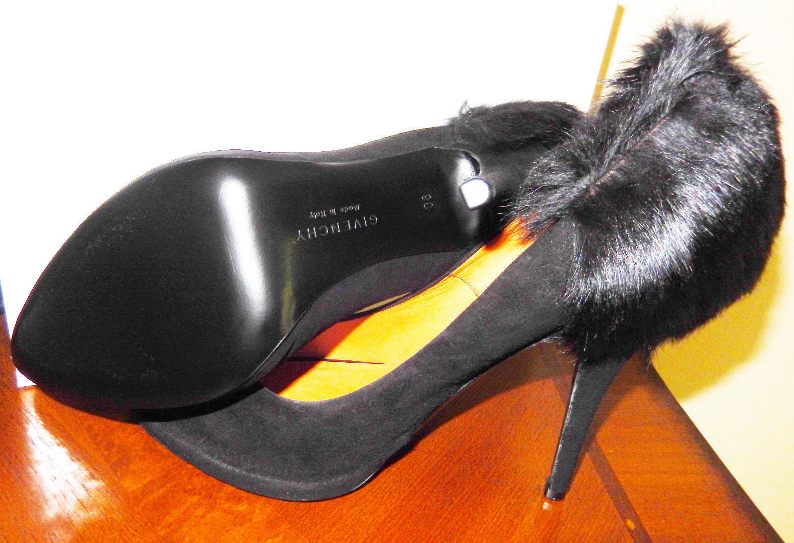 1,275 GIVENCHY Escarpins en daim noir & & & en fausse fourrure de vison Couleuris 7 US 38 Made in  New in Box a1b8c0