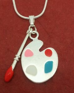 Art-Necklace-Silver-Plated-charm-pendant-and-chain-artist-palette-brush-Painter