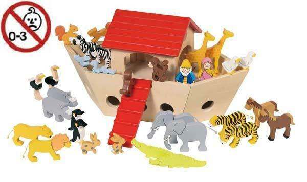 51846 GOKI Arche Noah mit vielen Tieren 33-tlg. - Holzspielzeug  NEU + OVP
