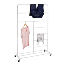 New Listing16 In X 65 In White Steel Rolling Multi Section T Bar Clothes Drying Rack