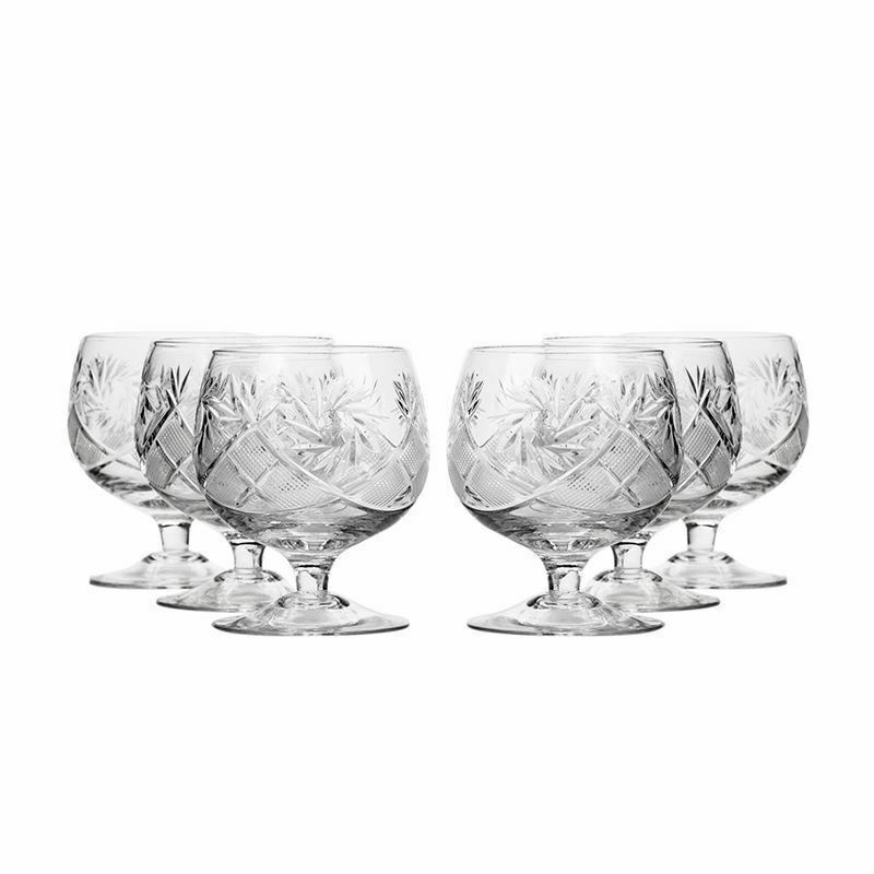 Neman Glassworks, 7-Oz Russian Crystal Brandy Cognac Snifters, 6-pc Vintage Set