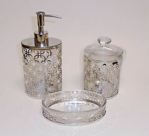 New bella lux 3 pc set glass silver metal frame soap for Bella lux bathroom accessories uk
