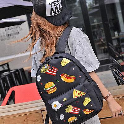Womens Men Casual Backpack Food School Fashion Shoulder Bag Rucksack Travel Bag