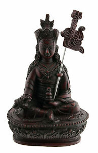 Padmasambhava Guru Rinpoche Soprammobile Tibetano IN Resine-Bordeaux 14.5cm 1579
