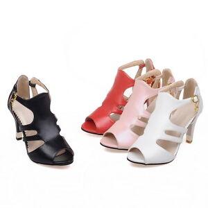 Women-039-s-Cone-Heel-Shoes-Cutout-Faux-Leather-Peep-Toes-Sandals-AU-Size-2-15-S898