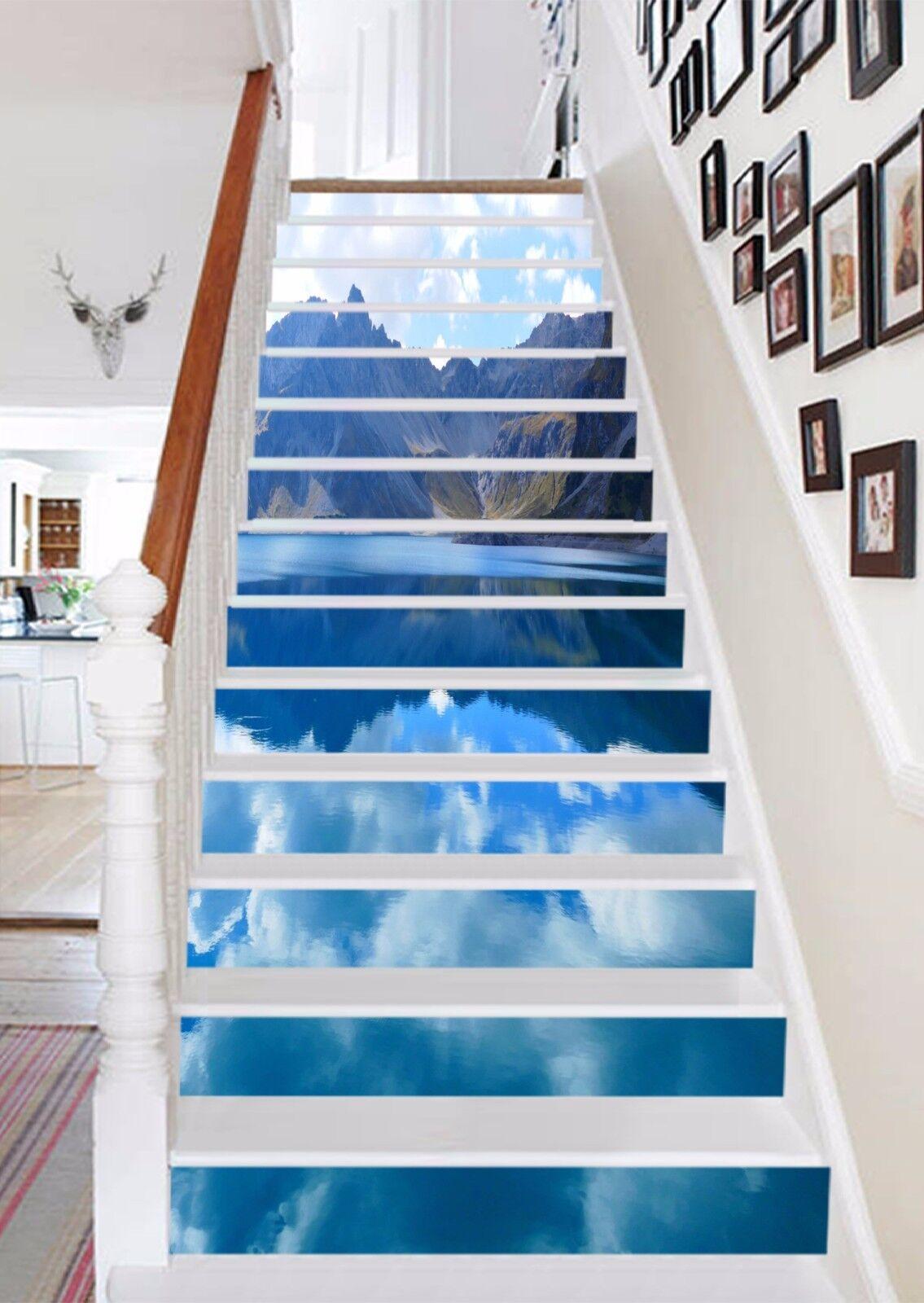 3D Mountain Lake 99 Stair Risers Decoration Photo Mural Vinyl Decal WandPapier AU