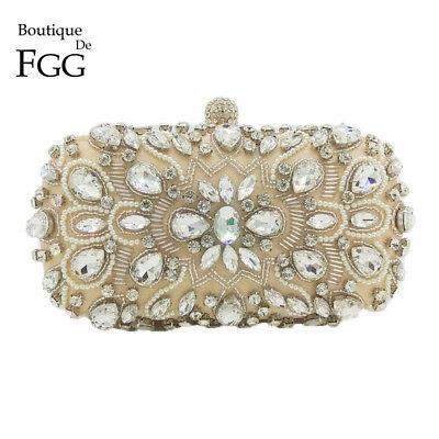 Ladies Satin Crystal Rhinestones Clutch Bag Evening Cocktail Bag Bridal Handbag