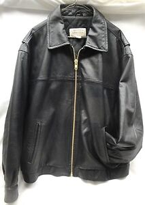 dab773bab Details about ST. JOHN'S BAY Men's Black Leather Jacket (XL) w/Custom  Replacement Zipper (O6)