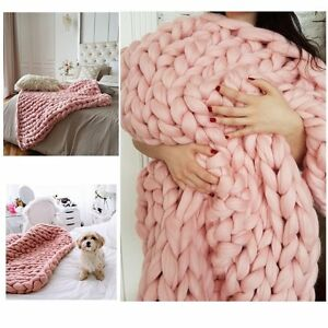 Chunky-Knitted-Thick-Blanket-Hand-Yarn-Bulky-Knit-Throw-Sofa-Blanket-32x40inch
