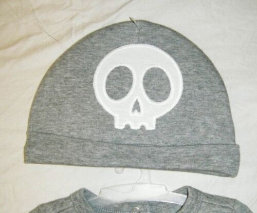 NEW BABY BOY GRAY CIRCO SKELETON ROMPER OUTFIT EMBROIDERED HAT SIZE 6-9 MONTH