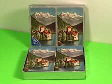 VINTAGE PLAYING CARDS SET PODO PO DO DELUXE CANASTA POKER SILVER CASE LANDSCAPE