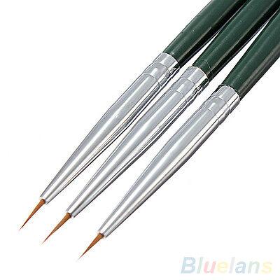 3x Stylish Painting Dotting Brush Kit Acrylic Tips Liner Pretty Nail Art Pen Set