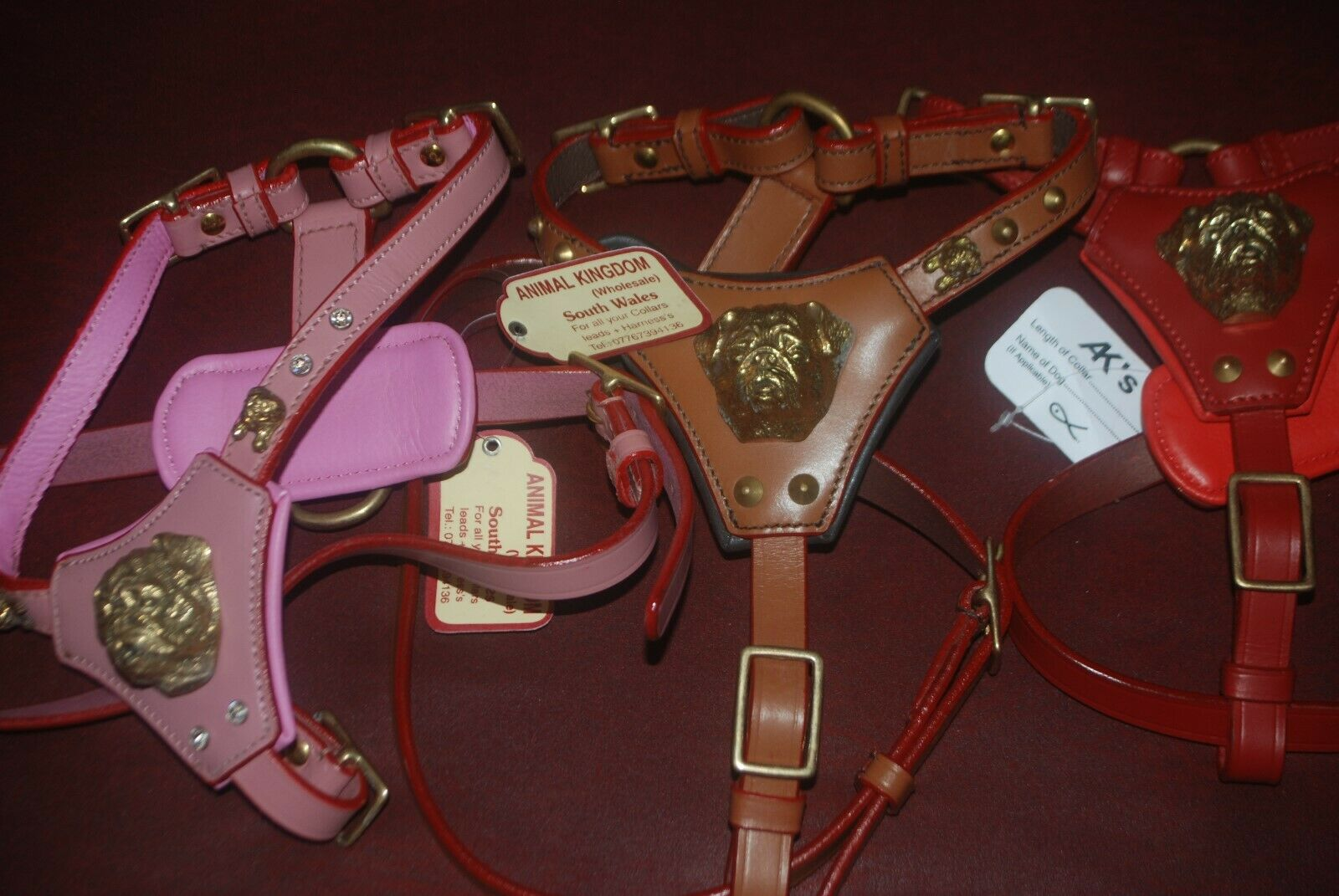 NEW LEATHER- PUG JUG- DOG HARNESS AND LEAD TO MATCH 3-COLOURS WITH 3D BRASS HEAD