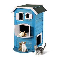 Pet Cat Wooden House Bed Shelter Condo Indoor Outdoor Kitten Furniture
