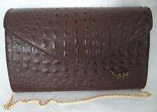 BROWN CROC PRINT LEATHER SHOULDER BAG HANDBAG