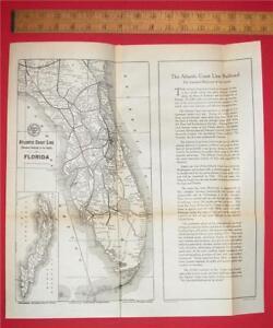 Map Of Florida Atlantic Coast.Details About 15x15 1923 Atlantic Coast Line Railroad Map Florida Cuba Fec Rr Depot History