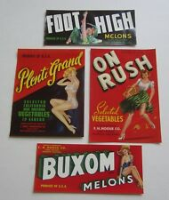 Lot of 4 Old Vintage 1940/'s MELON /& VEGE Crate LABELS 1950/'s PIN UP Girlie