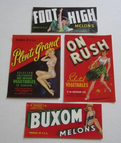Lot of 4 Old Vintage 1940/'s 1950/'s PIN UP Girlie MELON /& VEGE Crate LABELS
