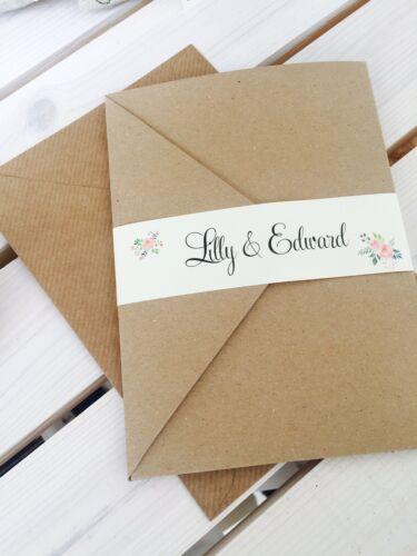 "1 Bolsillo Kraft invitación de boda//RSVP//deseo /""Lilly/"" muestra con envoltura floral"
