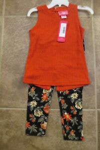 NEW-Girls-Pink-2-Piece-Outfit-Size-2T-3T-4T-Coral-Top-Soft-Floral-Leggings-Set