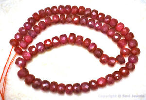"""RUBY 3.5-4.5mm FACETED Rondelle 9"""" strand 45Ctw (90 Precious Ruby Beads approx.)"""
