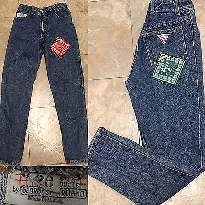 Vintage 80/'s GUESS Black High Rise Jeans Sz 25W