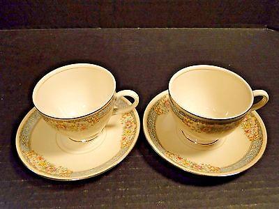 TWO Homer Laughlin Eggshell Nautilus Blue Dawn Tea Cup Saucer Sets 2 Excellent
