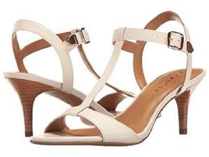 Brand-New-Coach-Woman-039-s-Melodie-Semi-Matte-Calf-Chalk-Heel-sandal-Sz-10