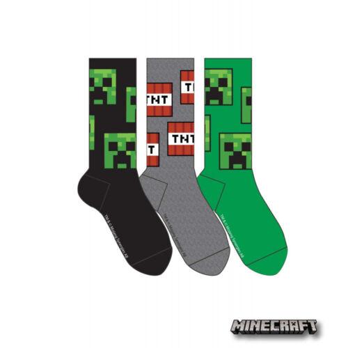Minecraft Jinx Officiel Sous Licence Chaussettes Pack De 3 Taille UK kids 5-2 adultes