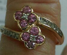 Pink Tourmaline & Diamond Ring 14kt Yellow Gold Size 7