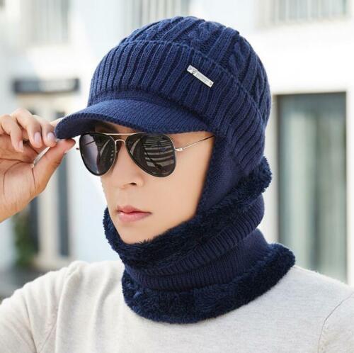 Unisex Herren  Warme Mütze Craft Visor Beanie Fleece Gefüttert Ear Flap Cap