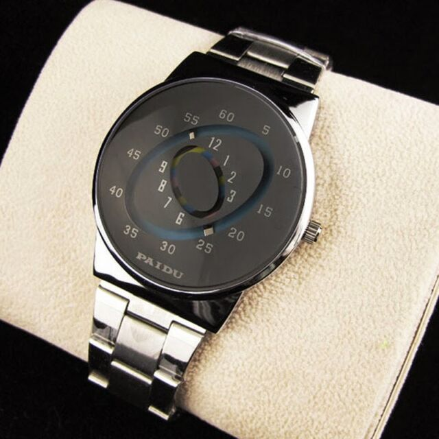 Stainless Silver Band PAIDU Quartz Wrist Watch Colorful Turntable Dial Men Gifts