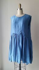Balenciaga Silk Blue Textured Silk Sleeveless Bubble Dress Sz 40