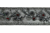 2 Antique Silver Embroidered Red Glass Beads Black Lace Trim By Yard