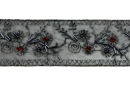 "2"" Antique Silver Embroidered Red Glass Beads Black Lace Trim by Yard"