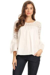 Sleeve Blouse Crochet Lace Cotton amp; white Bell 1030 qHpawAHX