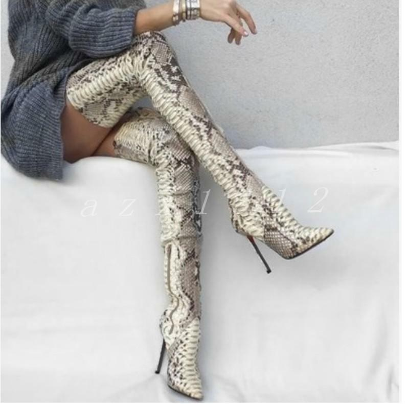 Ladies Pattern Leather Over The Knee Boots Stilettos Womens Heel Thigh shoes