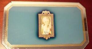 Antique-Vanity-Mirror-Tray-Blue-Reverse-Paint-Art-Nouveau-Victorian-Lady