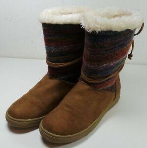 Women s Airwalk Brown Winter Faux Fur Lined Slip On Boots Size 7  222d3746ff
