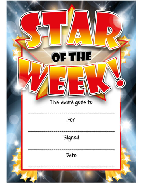 16 Star Of The Week Reward Certificates School Teachers Reward