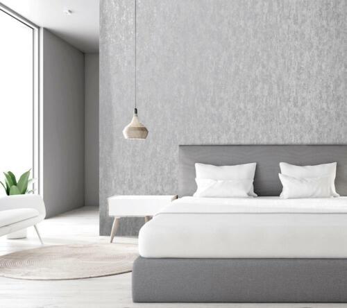 Holden Decor Industrial Textured Metallic Wallpaper Grey Silver Stone Concrete