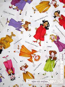 Loralie-Church-Ladies-Fabric-Lady-Sing-Religious-Choir-on-White-23754Z-YARD