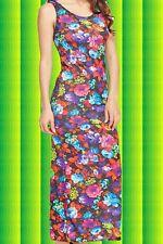 G767✪ Hippie Maxi Kleid Blumen Festival Flower-Power 70er Jahre bunt Gr S