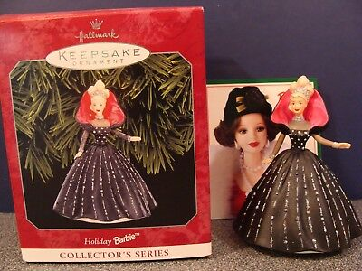 Hallmark Ornament Holiday Barbie #5 1997 Red and White Gown Ribbon Lace Used