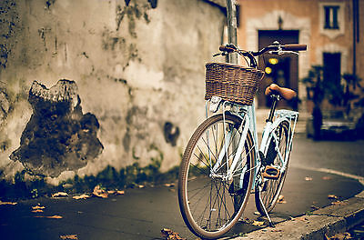 Framed Print - Teal Bike Leaning Against a Lamp Post (Picture Poster Bicycle Art