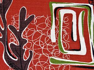 Atomic-Biomorphic-Tangerine-Persimmons-Vintage-Barkcloth-Drape-Curtain-MCM-1950